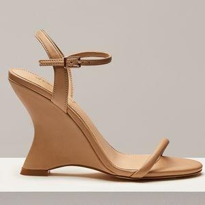 BNIB Curved Wedge Heel, nude, size 7.5